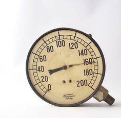 vintage industrial pressure gauge home decor modern steampunk steam punk machine retro men rusty patina weathered white