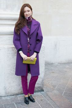 Winter Outfit Idea  Go two-toned with a royal purple wool coat and berry trouser—then bring it all together with a printed top containing both hues.