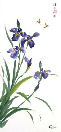 Chinese Brush Painting: iris