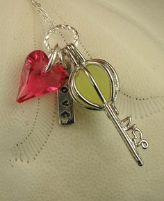 Sea Glass Necklace Key To My Heart Locket RARE by seaglassgems4you, $35.00