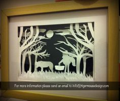 Little Red Riding Hood Silhouette Scene    Order Code: LRRH    Pricing to be announced (or just email me if you would really like to order and I can try to figure something out)    Shipping available in Australia    A different kind of artwork for your home, work or bedroom. This scene based on Little Red Riding Hood Silhouette Portrait is made of paper and placed on a black painted background. Keep an eye out for more creative designs!