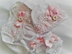 Newborn Girl Coming Home Outfit Designer Set Yellow white Lace with Pink Accents Christening Gown - Marina Hinojosa - HOME Toddler Flower Girl Dresses, Baby Girl Dresses, Baby Boy Outfits, Girls Coming Home Outfit, Take Home Outfit, Baby Girl Romper, Baby Girl Newborn, Baby Girls, Red Romper