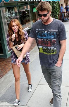 Awww! Liam Hemsworth and Miley Cyrus pictured shopping together in Beverly Hills in 2010. via dailymail.co.uk