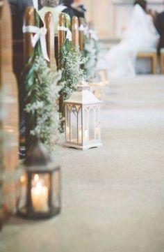 Wedding Ceremony Ideas, Church Wedding Decorations Aisle, Wedding Church Aisle, Wedding Aisle Outdoor, Winter Wedding Decorations, Wedding Centerpieces, Wedding Table, Rustic Church Wedding, Vintage Winter Weddings