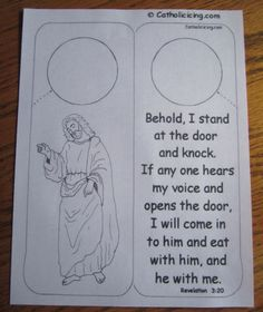 Jesus knocking craft door-hanger printable from Catholic Icing