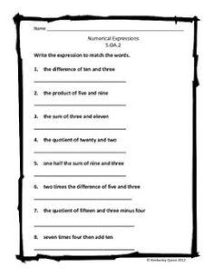 Grade 5 Math Variables And Expressions Worksheets