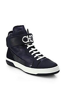 866a37ffa70b Ferragamo - Blue Night Ankle Strap High-top Sneakers for Men - Lyst