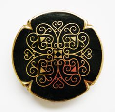 Antique Vintage Black and goldtone tratton Compact