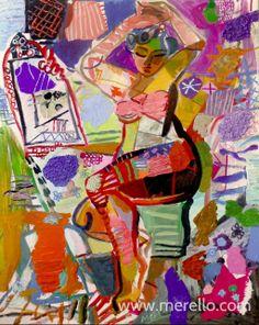 "WOMAN FRONT OF THE MIRROR Jose Manuel Merello.- ""Mujer frente al espejo"" (100x81 cm) Mix media on canvas Spanischen Kunst. Spanischen Maler. Zeitgenössische Kunst. Spanische Künstler Maler. http://www.merello.com"