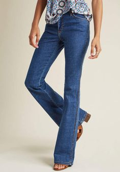 Wrangler Flared Finesse Jeans in Mid Wash - 34 in 14W - Flare Denim Pant by Wrangler from ModCloth