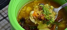 The May cabbage soup with chorizo and dill