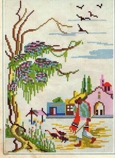 Gallery.ru / Фото #16 - Motifs anciens - rosab Cross Stitch Horse, Cross Stitch Sea, Butterfly Cross Stitch, Modern Cross Stitch, Cross Stitch Charts, Cross Stitch Patterns, Cross Stitching, Cross Stitch Embroidery, Graphic Design Portfolio Examples