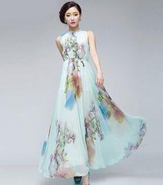 15 Off Light Blue Floral Print Aline Dress Bohemian por ChineseHut, $159.00