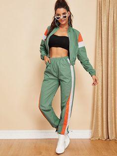 ce0affa660853 Zip Up Color Block Jacket   Pants Set -SHEIN(SHEINSIDE) Pants For Women