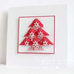 handmade Christmas card ... red & white ... tree created of ten pieces done in tea bag folds ...