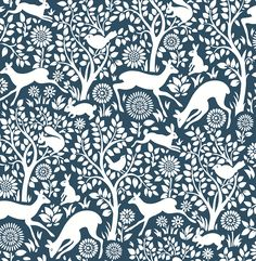 Woodland Meadow wallpaper is a wonderful quirkyfloraltree design featuring deer, rabbits and birdson abluebackground