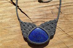 lapis lazuli necklace,macrame stone necklace,macrame jewelry,blue stone,cabochon necklace,statement necklace,lapis lazuli jewelry,adjustable by ARTEAMANOetsy on Etsy
