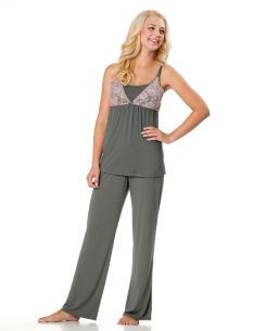 Motherhood Maternity Lace Trim Nursing Pajama Set
