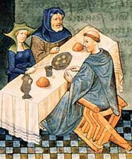 """Bnf - Gastronomie Médiévale L'alimentationla cuisine les repas Après les entremets, on débarrasse la table. La """"desserte"""" qui suit offre des confiseries, des gâteaux et des fruits généralement secs. Dans les festins somptueux, elle est prolongée par l'""""issue"""" où l'on accompagne l'hypocras (vin épicé) d'oublies, de supplications, de métiers et autres gaufres légères."""
