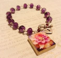 "Faceted Amethyst ""Lotus Blossom"" Scrabble Tile Photo Charm by Belle Bijou Atelier Photo Charms, Scrabble, Lotus, Amethyst, Tile, Charmed, My Style, Bracelets, Projects"