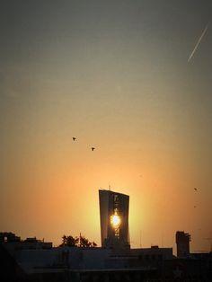 ecb. european central bank. frankfurt. sunrise.
