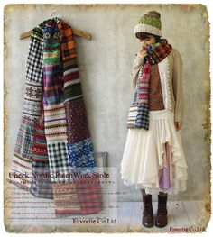 A beautiful mori-girl scarf in nordic patterns, perfect for a touch of vintage boho magic from favourite-one.jp