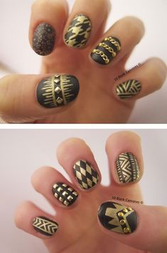 10blankcanvases:    Black and Gold matte nails