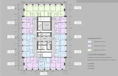 Многофункциональный жилой комплекс в 5-ом Донском проезде. План типового этажа. Проект, 2015 © Группа АБВ