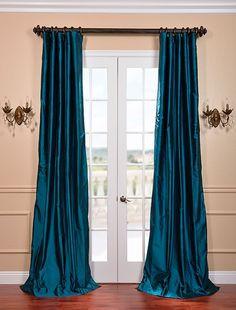 Tahitian Teal Silk Taffeta Curtain - custom