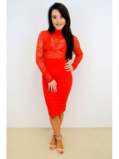 1b349244f8f7ad Devilish Lace Dress - Red - Damson Boutique. Long sleeved ...