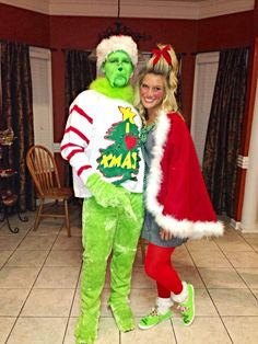 Grinch and Cindy Lou Who Grinch Party, Grinch Halloween, Le Grinch, Grinch Christmas Party, Tacky Christmas, Kids Grinch Costume, Christmas Dance, Christmas Couple, Christmas Things
