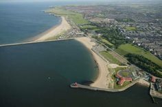 Aerial view of the Little Haven beach in South Shields.