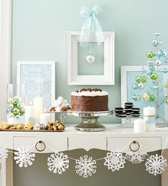 Paper Snowflake Chain  Decorate a mantel or a buffet table with this icy snowflake chain. Simply cut snowflakes from paper and string them together with white ribbon or string. To make the snowflakes stay in place, add a drop of glue to the ribbon.  Design your own snowflake.
