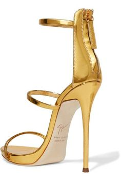 Giuseppe Zanotti - Harmony Metallic Leather Sandals - Gold - IT39.5