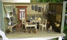 This antique German dollhouse kitchen sold on eBay last month for a winning bid of $950. It dates back to 1895-1900.