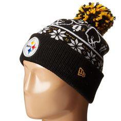 Mens   Womens Pittsburgh Steelers New Era NFL Sweater Chill On-Field Sports  Rib Knit Pom Pom Beanie Hat - Black f77539551