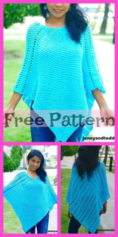 These Crochet Uptown Poncho Patterns are very beautiful! The designs are prett Crochet Baby Poncho, Crochet Poncho Patterns, Crochet Shawl, Unique Crochet, Cute Crochet, Beautiful Crochet, Crochet Elephant Pattern, Crochet Dinosaur, Crochet Designs