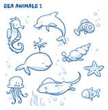 Vektor: Cute cartoon sea water animals. Whale, fish, dolphin, jellyfish, seahorse, snail, ray, starfish. Hand drawn doodle vector illustration.