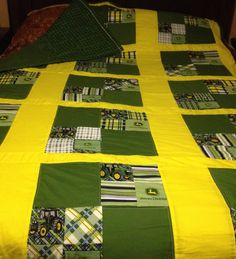 My first quilt- John Deere Quilt- made for my husband:) Tractor Quilt, Farm Quilt, Panel Quilts, Quilt Blocks, John Deere Bed, John Deere Fabric, Bed Quilt Patterns, Quilting Designs, Quilting Ideas