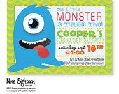 Monsters theme, kids birthday party. Custom PRINTABLE PDF invitation. I design, you print. Made to Match Add ons available.