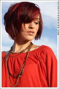 Short Hairstyles  Short Hairstyles - Sultry Fire Engine Red Bob with a Thick Fringe