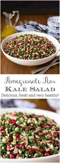 This delicious Pomegranate Pear Kale Salad is loaded with fresh, healthy ingredients. The simple, vibrant lemon dressing ties it all together. Cranberry Spinach Salad, Mango Salad, Kale Salads, Savory Salads, Yogi Food, Salad Bar, Big Salad, Salad Dressing Recipes, Salad