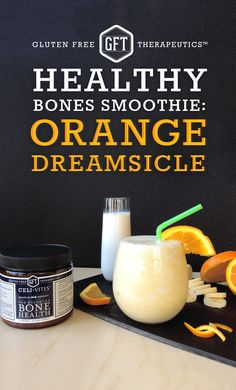 Easy and delicious smoothie recipe to promote bone health!  Ingredients: 1 banana, 1 orange, 1 scoop CeliVites Bone Health, handful of ice cubes, glass of milk.  Blend ingredients in a high speed blender and pour into a glass. Voila! A healthy way to start your day. #glutenfree