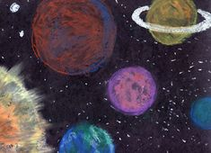 children's outer space art projects | See a second grade student's sample of this project.