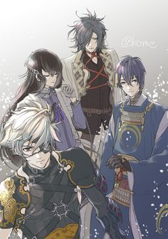 The first picture I have seen of this combo (yay! Although it seems that Onimaru doesn't really feel like he belongs to this group (´∇`) Slayer Anime, Manga Illustration, Katana, Touken Ranbu, Fantasy Characters, Cute Boys, Amazing Art, Sword, Character Art