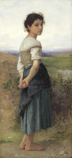The Young Shepherdess, detail, 1885                                                                                                  William Bouguereau