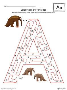 Uppercase Letter A Maze Worksheet (Color) Worksheet.If you are looking for creative ways to help your preschooler or kindergartener to practice identifying the letters of the alphabet, the Uppercase Letter Maze in Color is the perfect activity. Letter A Words, Letter Maze, Spelling Activities, Alphabet Activities, Alphabet Phonics, Alphabet Sounds, Printable Alphabet Worksheets, Maze Worksheet, Alphabet Pictures