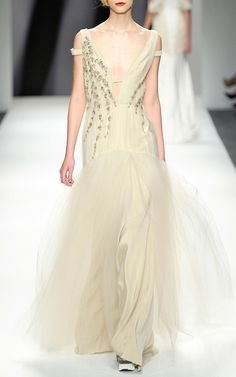 Floral Vine Embroidered V-Neck Gown by Bibhu Mohapatra for Preorder on Moda Operandi