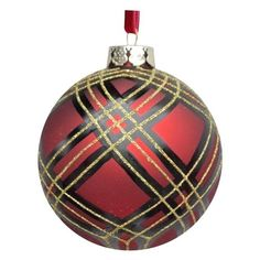 Holiday Living 100mm Handpainted Glass Plaid Ball ($10) ❤ liked on Polyvore featuring home, home decor, holiday decorations, xmas tree ornaments, christmas tree ball ornaments, glass home decor and holiday ornament