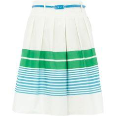 Green stripe cotton skirt by None, via Polyvore